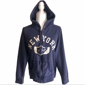 WOMENS L AMERICAN EAGLE distressed NY HOODIE